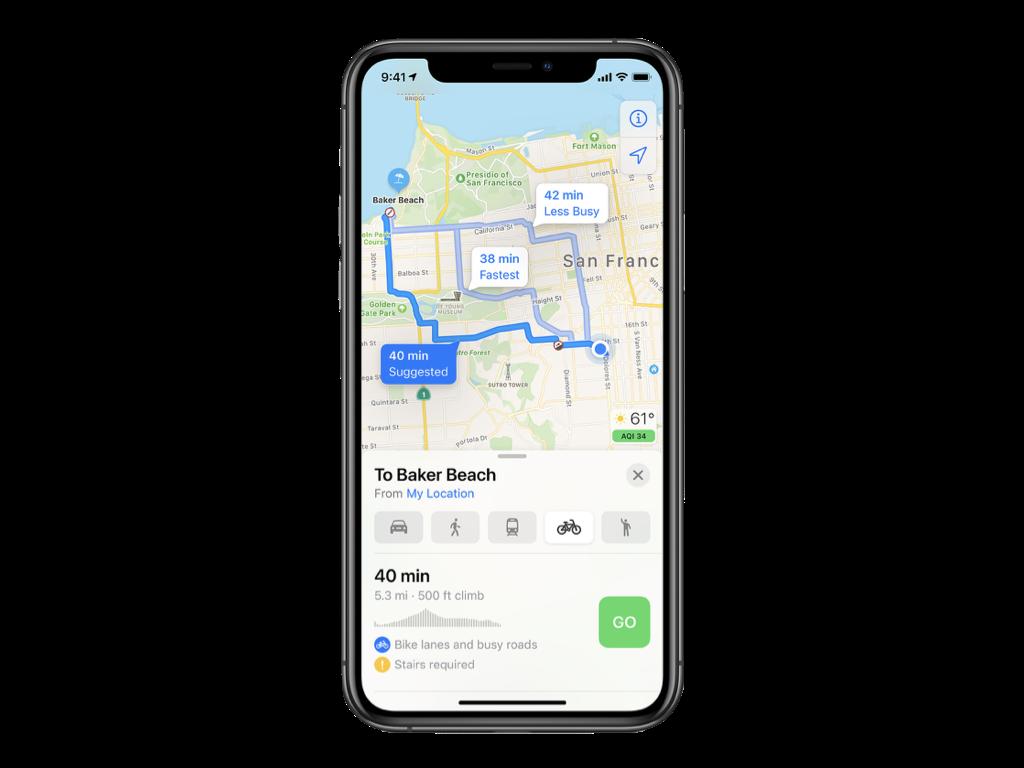 Navigácia pre cyklistov v apke Mapy